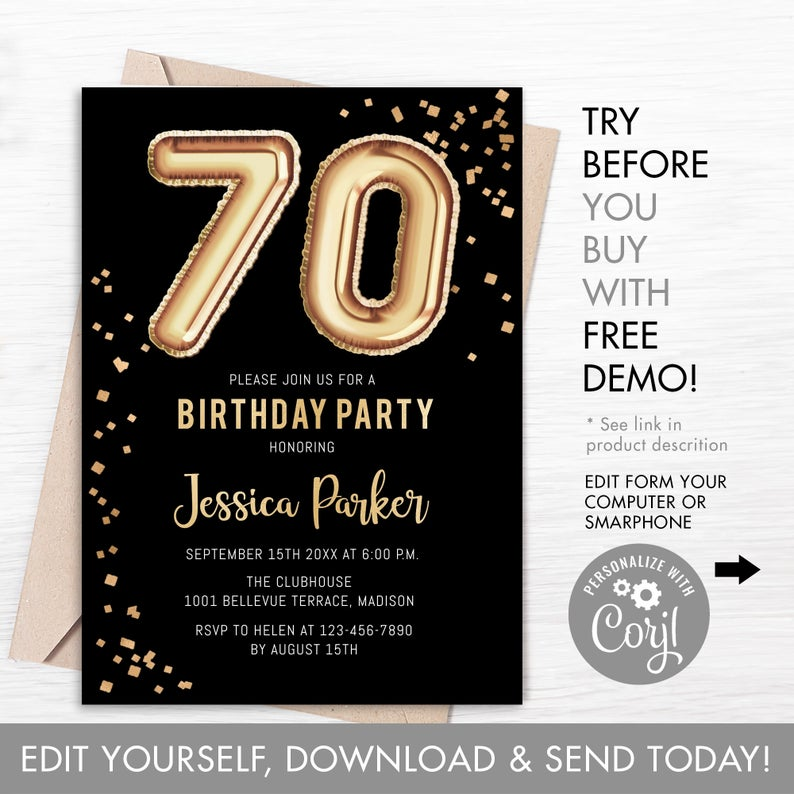 70th Birthday Invitations Template Wording Corjl