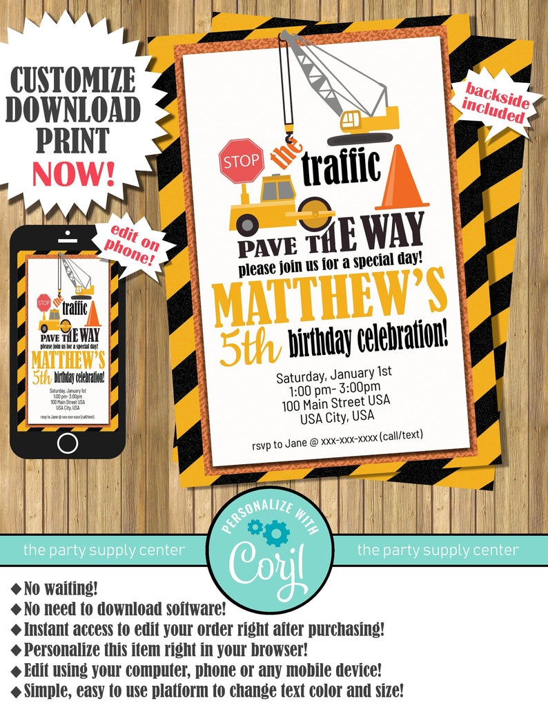 construction worker party invitations