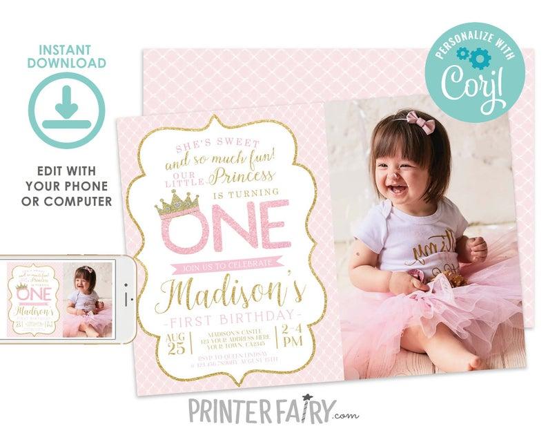 princess party printable template