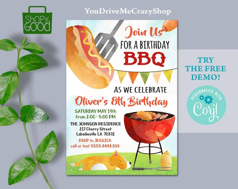 bbq party printable invitations edit