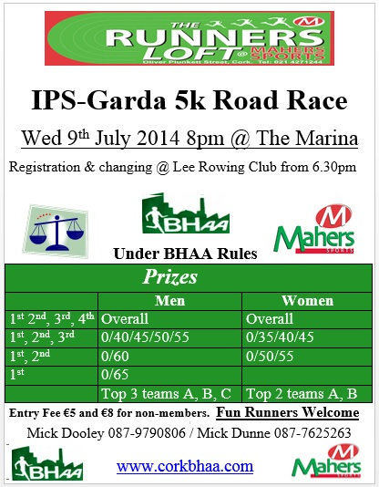 Cork BHAA IPS Garda 5k 2014 flyer