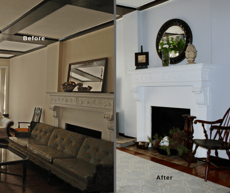 an impressive living room fireplace