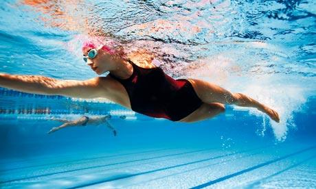 Woman swimming in a pool