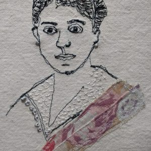 Machine embroidered portrait