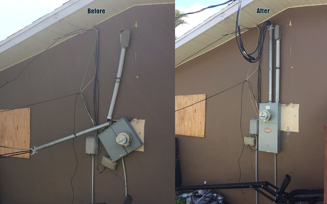 Florida Storm Damage to electrical systems before and after