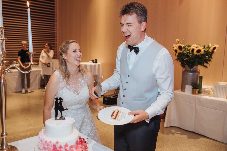 Torte Anschnitt Abend Hochzeit