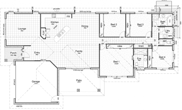 Sample floor plan for a new home by a building designer