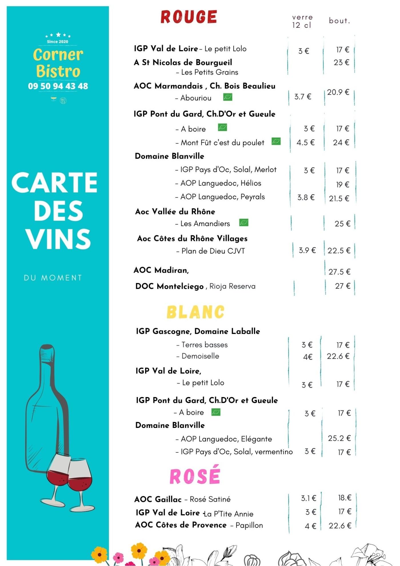 carte des vins du Corner Bistro à Noyal sur Vilaine