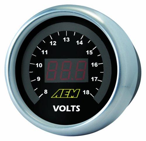 aem volt black gauge