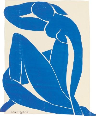 Matisse, 'Blauw naakt II', gouache op papier, 1952, 116,2 x 88,9 cm.