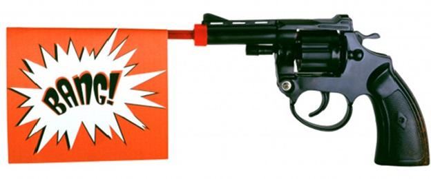 Speelgoedpistool met 'Bang' tekst