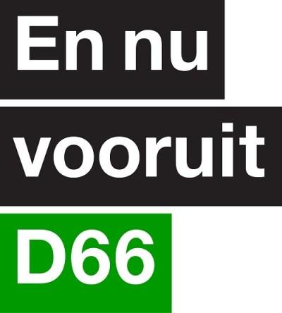 Tekst van affiche: 'En nu vooruit - D66'