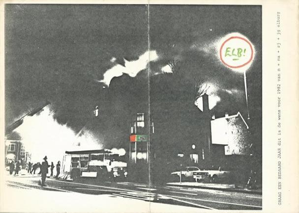 Nieuwjaarskaart van Jan Elburg voor 1982, het jaar na de brand in zijn Haarlemse huis.