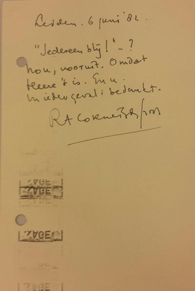 Briefkaart aan de Bibliotheca Erotica en Curiosa, tav Peter v.d. Velden.