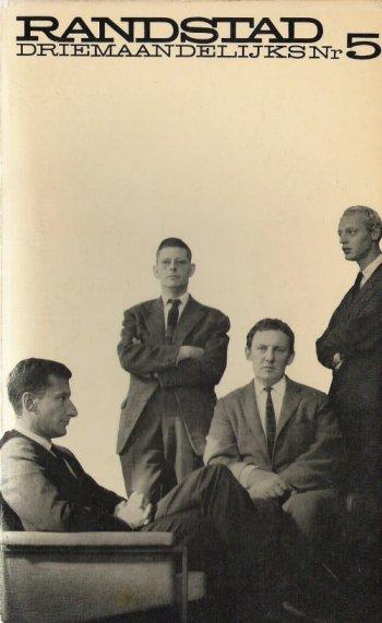 Omslag 'Randstad 5' (lente 1963) met van links naar rechts de redactieleden Mulisch, Michels, Claus en Vinkenoog.