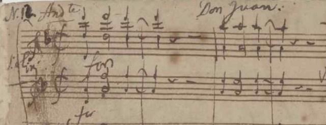 Handschrift van 1e maten Don Giovanni