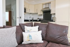 Pendarves Ocean Blue holiday apartment sofa