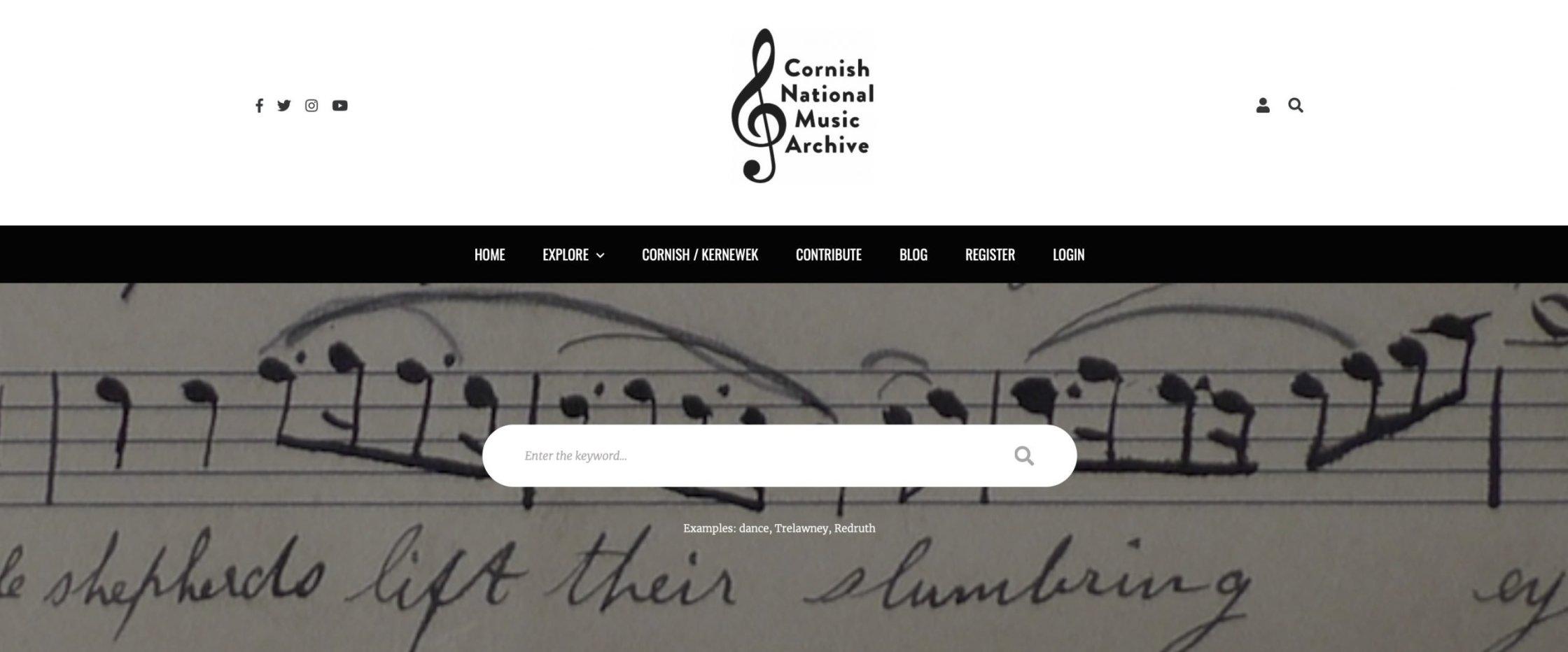 Screenshot of the Cornish National Music Archive website header