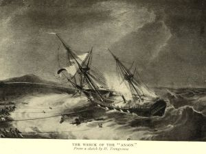The Wreck of the HMS Anson from a sketch by Henry Trengrouse illustrating use of his future lifesaving euipment
