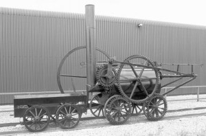 Trevithick's (replica) Penydarren locomotive and tender at W.I.M.M. in 1983