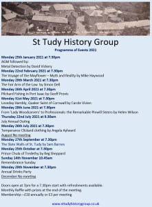 St Tudy History Group Programme of Events 2021