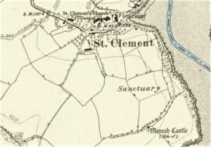 St Clement map 1888 showing site of castle