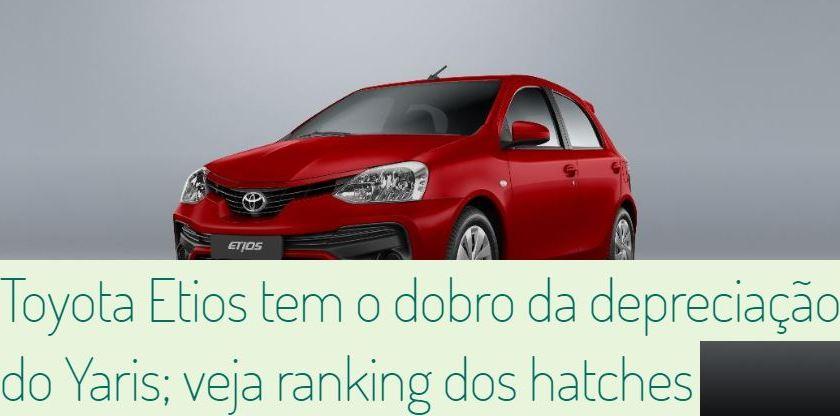 Toyota Etios Possui Depreciação Maior do que Yaris