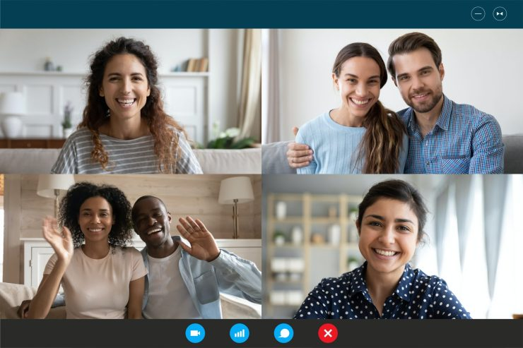 Video call split-screen shot of two couples and two women