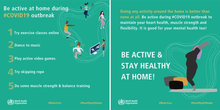World Health Organization #HealthyAtHome campaign infographics