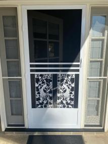 El Dorado swinging screen door in white.