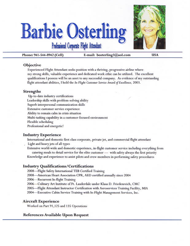 Flight Resume Sample. Flight Attendant Resume Example Flight