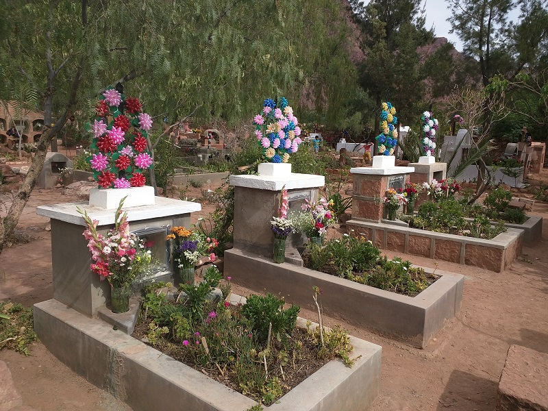 Tombs decorated for Day of the Dead in Bolivia