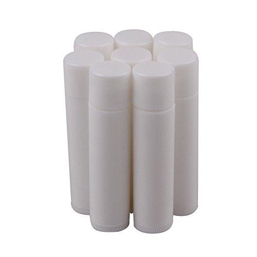 HugeStore Lot de 5 tubes de baume à lèvres en plastique vide Blanc 5 ml, Plastique, Blanc., 25 Stück