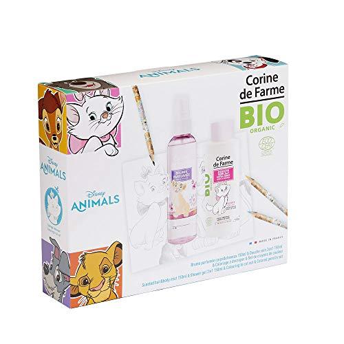 Corine De Farme | Animals Coffret Cadeau | Disney| Parfum BIO Enfant 150ml | Gel Douche BIO Enfant 150ml | Coloriage Enfant | Crayons de couleurs |Fabriqué en France