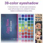 Beauty Glazed 39 couleurs palette de poudre de fard à paupières glitter brillant fard à paupières doré très pigmenté chatoyant et mat métallique imperméable à l'eau lisse maquillage pour les yeux