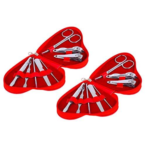 Healifty 16Pcs Ensemble de Manucure Coupe-Ongles Ciseaux Pince à Épiler Oreille Cuillère Lime à Ongles en Acier Inoxydable Pédicure Kit de Toilettage avec Étui en Forme de Coeur pour Les