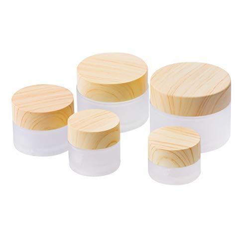 Minkissy 5Pcs Pots en Verre Clair avec Couvercles Maquillage Conteneurs Vides Rechargeables pour Cosmétiques Lotion Crème Cuisine Voyage