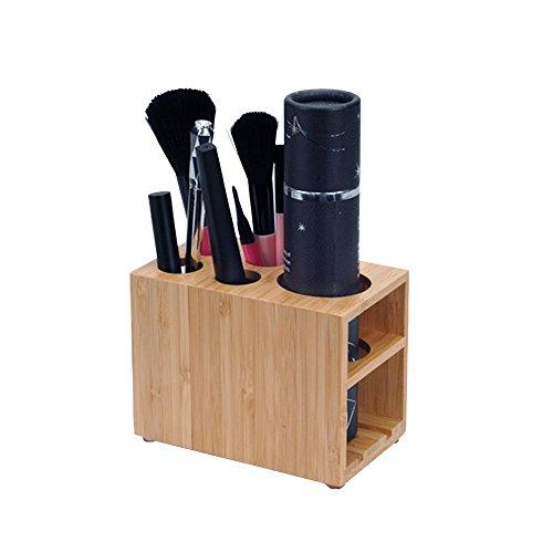 MobileVision Porte-pinceaux de maquillage en bambou pour lavabo ou salle de bain, 5 emplacements