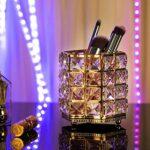 ZWOOS Porte-pinceaux de Maquillage,Cristal Maquillage Brosse Organisateur ,Porte-Crayons en Cristal pour Le Stockage de cosmétiques pour la vanité Salle de Bains Bureau (Or)