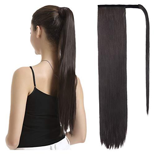 BARSDAR Postiche Queue de Cheval Extension Semble Naturel 66 cm Postiche Extension de Cheveux Longue Wrap Aroud Ponytail Extension pour Femme Fille