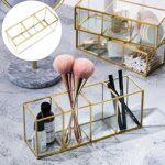 FRCOLOR Porte-Pinceau de Maquillage Clair 3 Fentes en Verre Pinceaux Cosmétiques Compartiment Organisateur Tasse de Rangement pour Crayon pour Bureau de Comptoir