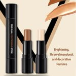 ONLYOILY 1pc 2 in1 Double-ended Illuminateur Bâton Highlighter Crème du Visage Miroitement Contour Stick Maquillage Beauté