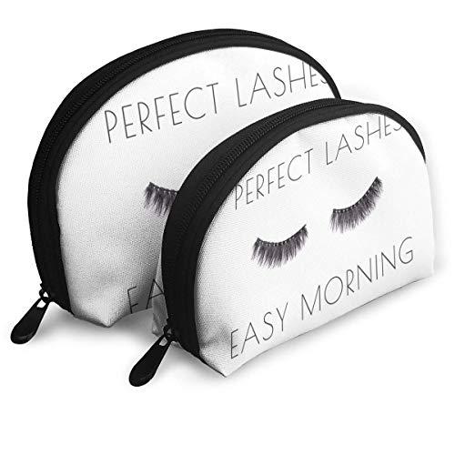Affiche avec Paire de Longs Faux Cils sur Blanc avec Citation Perfect Lashes Easy Morning Pouch Zipper Toiletry Organizer TR