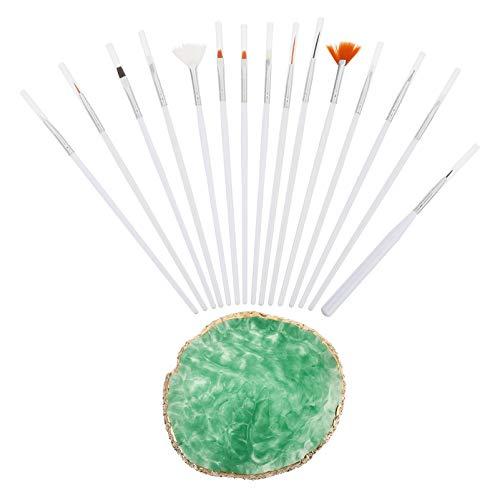 FRCOLOR 15 Pièces Nail Art Brosses En Plastique Nail Peinture Brosse avec Couleur De Mélange Palette Manucure Soins Outil Kit