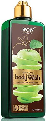 Glamorous Hub WOW Nettoyant pour le corps moussant à la pomme verte sans parabens sulfate de silicones et couleur 250 ml (l'emballage peut varier)