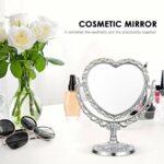 Minkissy Décoratif En Forme de Coeur Miroir de Maquillage Rétro En Plastique Table Vanity Miroir 360 Degrés Rotation Double Face Loupe Cosmétique Miroir Argent
