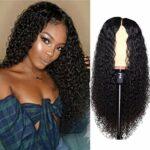 Yeglg Perruque de 61 cm avec fermeture en dentelle, cheveux 100 % humains, perruque longue ondulée, cheveux pour femme, noir, ligne de cheveux pré-épilée, soyeuse, douce et non nouée, noir naturel
