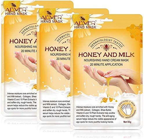 Gants hydratants Masque pour les mains pour mains sèches Masque pour blanchissant,Soins des mains Réparation du spa Matériel d'écran tactile,Réparation de la peau rugueuse (3 paires de lait)