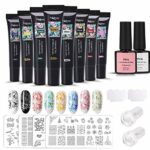 Timbre Ongles Gel, MYSWEETY 8 Couleurs Nail Art Stamping Gel Trousse Estampillage avec 4 Plaques D'impression, 2 Grattoirs, 2 Silicone Tampons