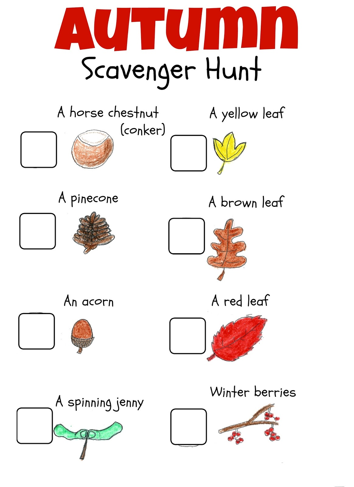 Free Fall Activity Scavenger Hunt